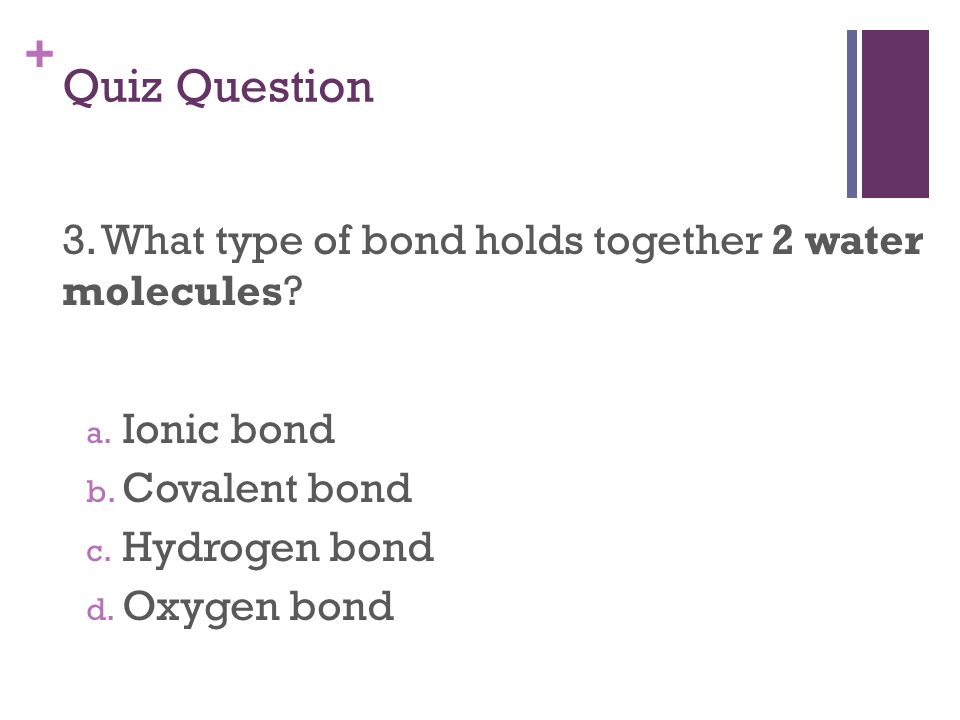 + Quiz Question 3. What type of bond holds together 2 water molecules.