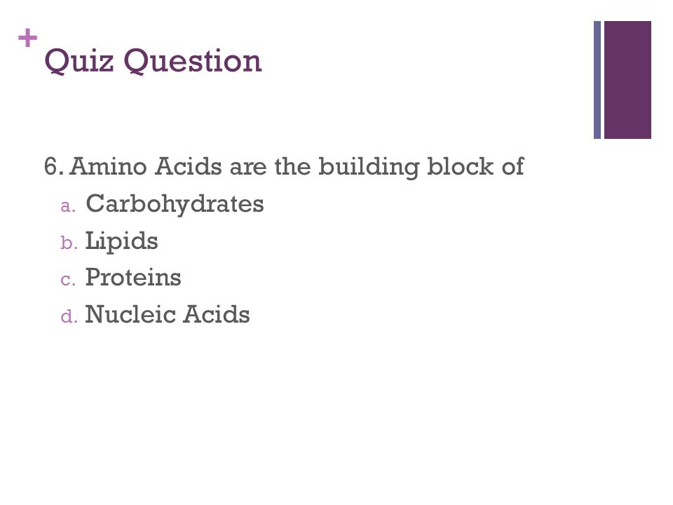 + Quiz Question 6. Amino Acids are the building block of a.