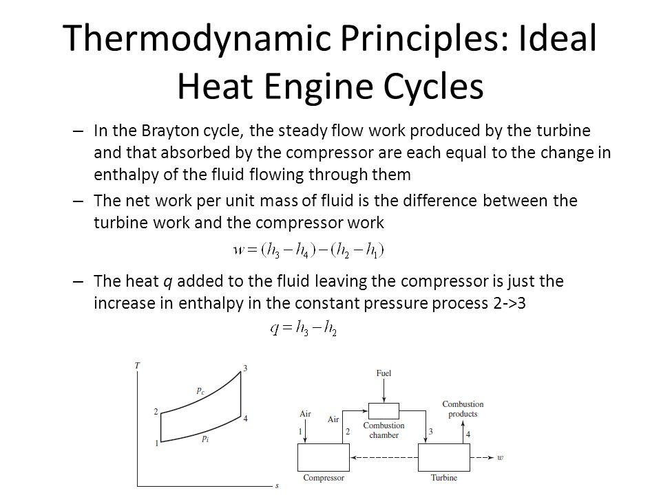 Thermodynamic Principles: Ideal Heat Engine Cycles – In the Brayton cycle, the steady flow work produced by the turbine and that absorbed by the compressor are each equal to the change in enthalpy of the fluid flowing through them – The net work per unit mass of fluid is the difference between the turbine work and the compressor work – The heat q added to the fluid leaving the compressor is just the increase in enthalpy in the constant pressure process 2->3