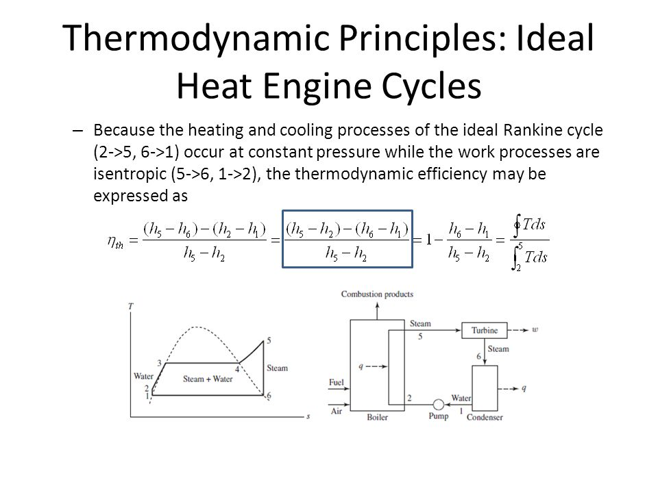 Thermodynamic Principles: Ideal Heat Engine Cycles – Because the heating and cooling processes of the ideal Rankine cycle (2->5, 6->1) occur at constant pressure while the work processes are isentropic (5->6, 1->2), the thermodynamic efficiency may be expressed as