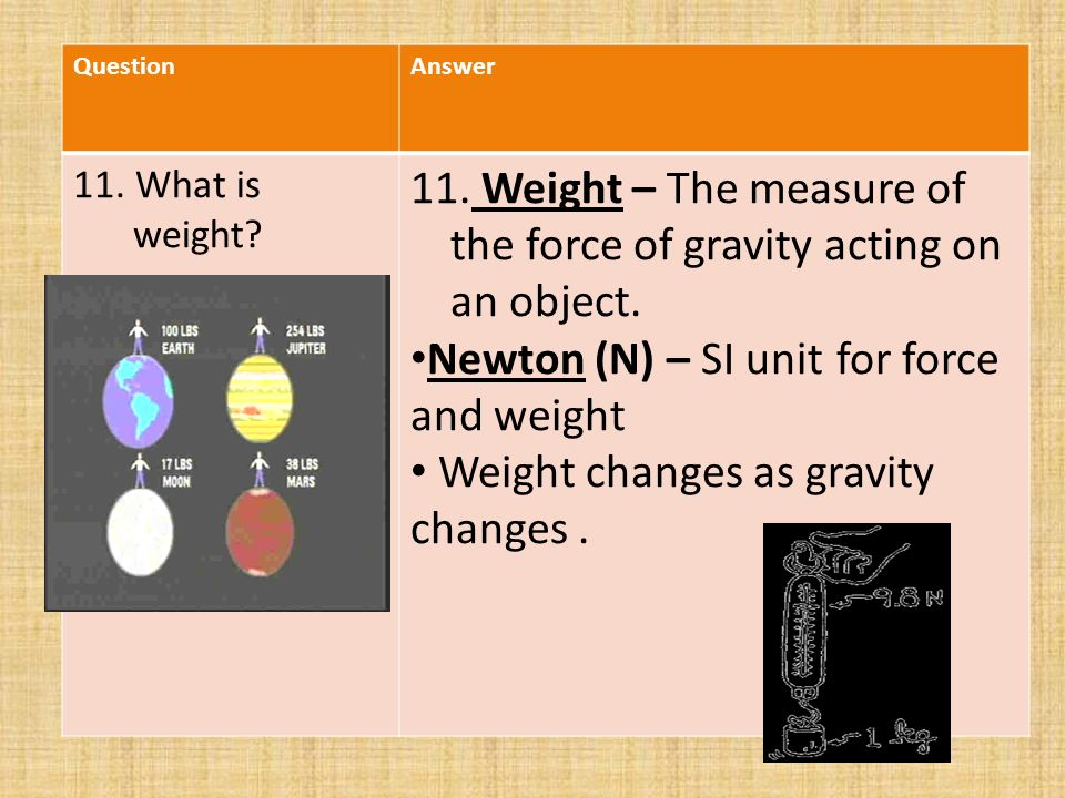 QuestionAnswer 11. What is weight. 11.