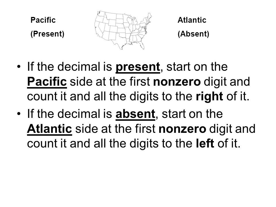 If the decimal is present, start on the Pacific side at the first nonzero digit and count it and all the digits to the right of it.