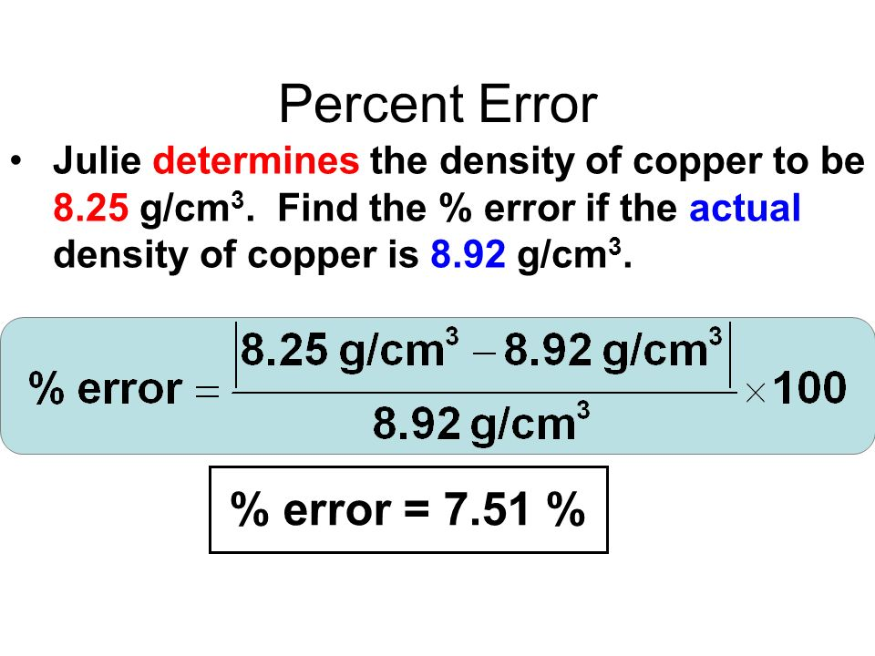 Percent Error Julie determines the density of copper to be 8.25 g/cm 3.
