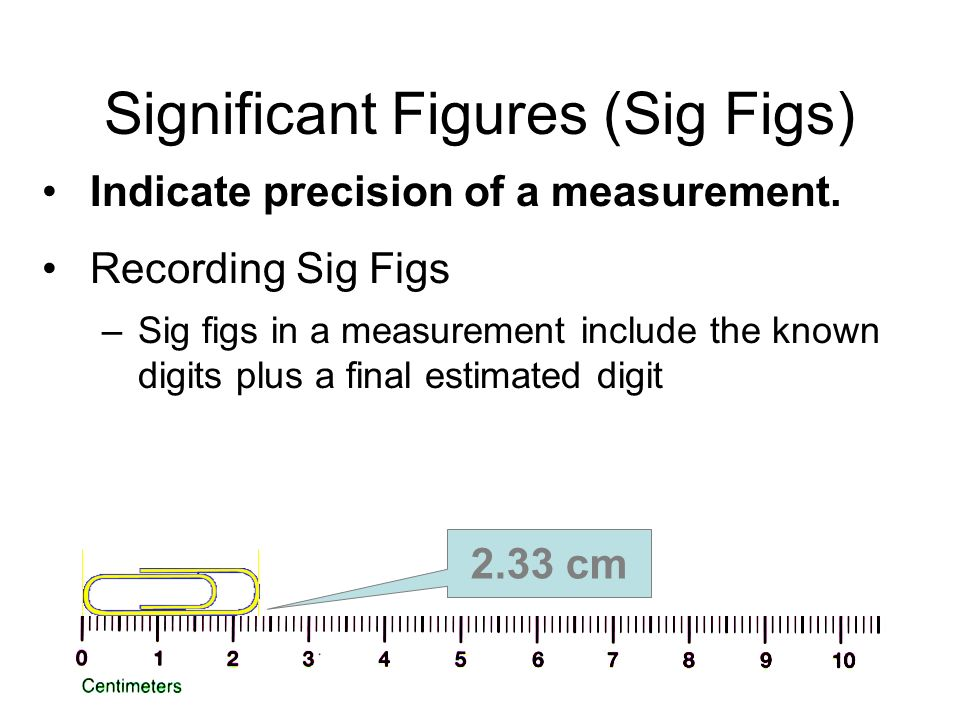 Significant Figures (Sig Figs) Indicate precision of a measurement.
