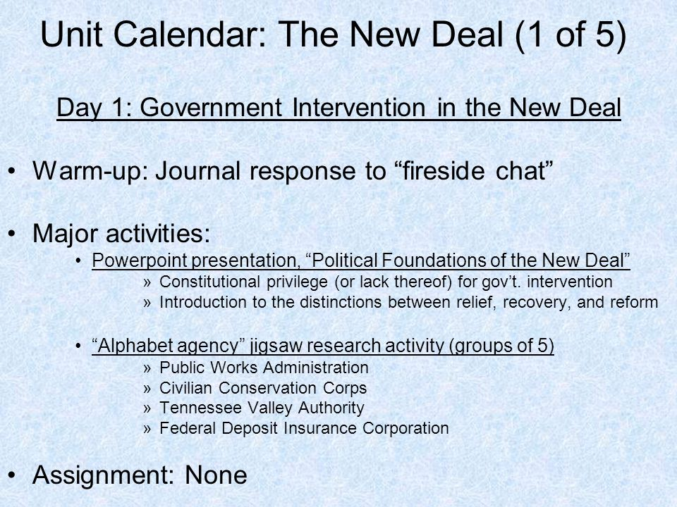 the new deal response to the