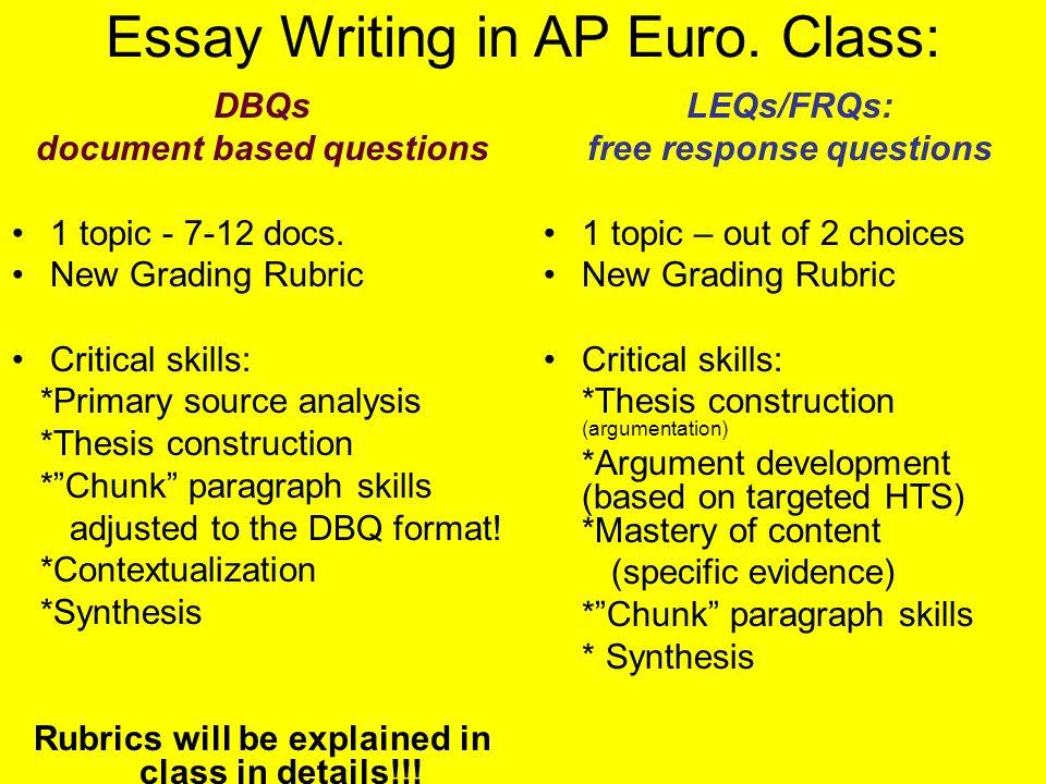 Ap Euro Essay Sample