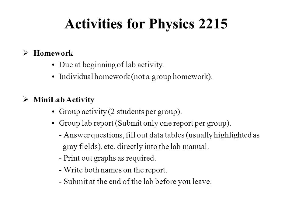 Lab report example physics