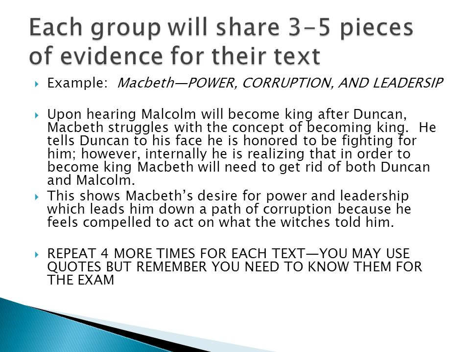 english iv iuml frac students will be able to create and support a claim example macbeth power corruption and leadersip iuml129frac12 upon hearing malcolm will