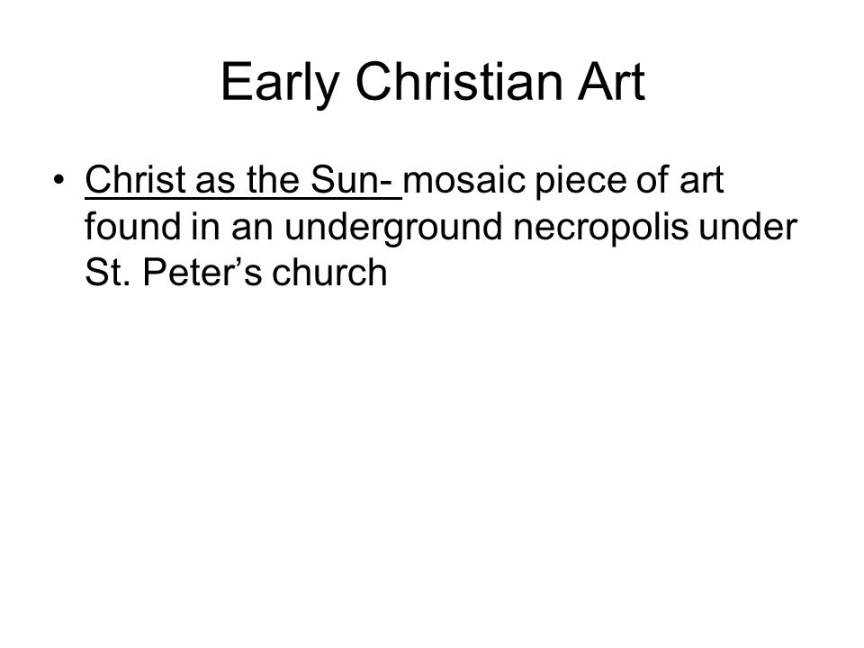 Early Christian Art Christ as the Sun- mosaic piece of art found in an underground necropolis under St.