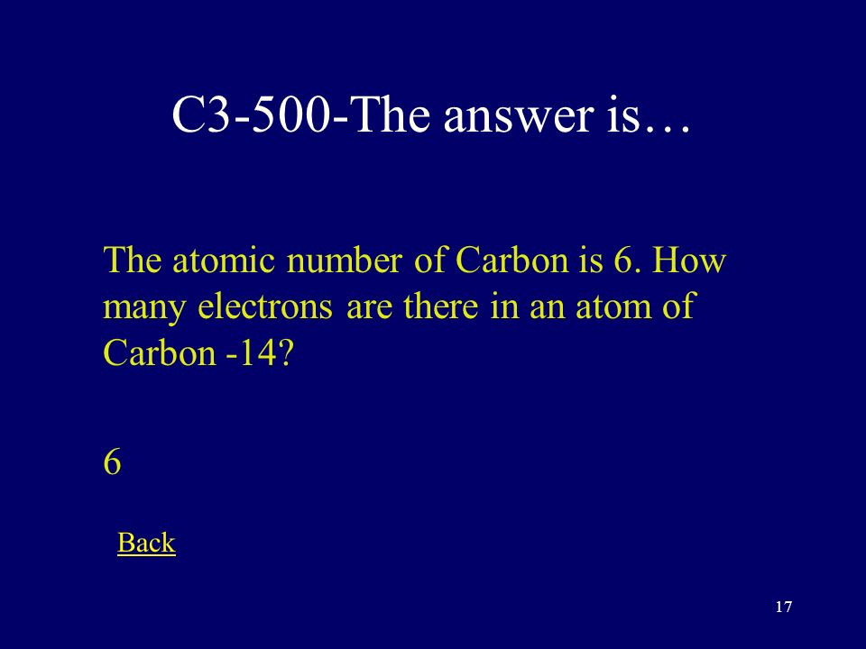 16 C3-400-The answer is… How many electrons fit in the the 1st energy level.