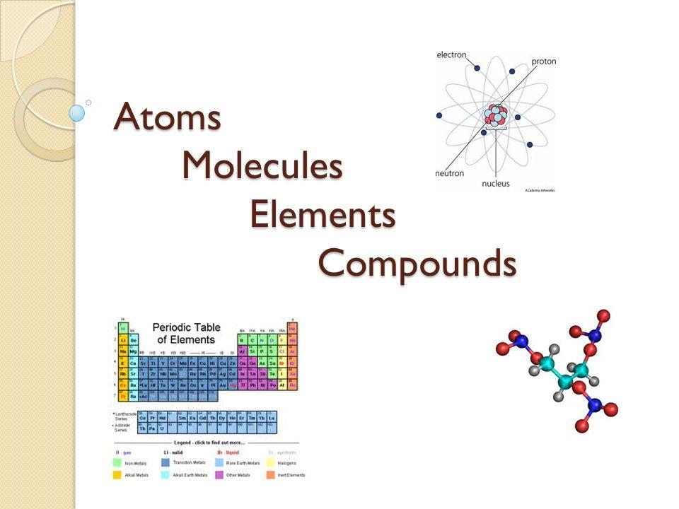 Atoms Molecules Elements Compounds. Atom The smallest particle ...