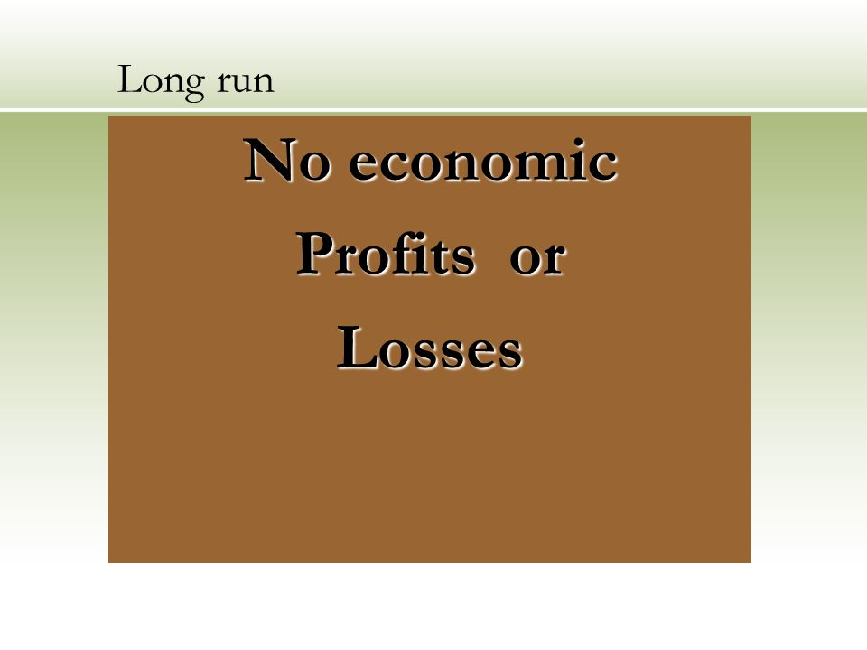 Long run No economic Profits or Losses