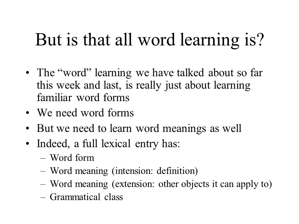 Building a Lexicon Statistical learning & recognizing words. - ppt ...