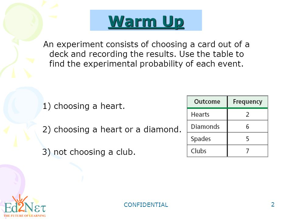CONFIDENTIAL 2 Warm Up 1) choosing a heart. 2) choosing a heart or a diamond.