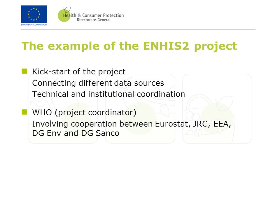 The example of the ENHIS2 project Kick-start of the project Connecting different data sources Technical and institutional coordination WHO (project coordinator) Involving cooperation between Eurostat, JRC, EEA, DG Env and DG Sanco