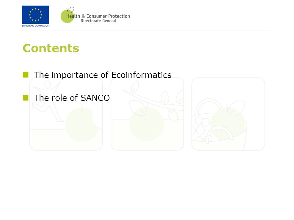 Contents The importance of Ecoinformatics The role of SANCO