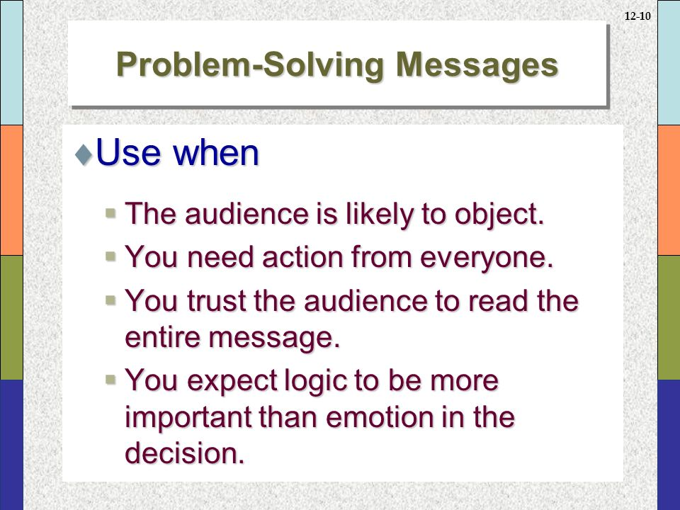 12-10 Problem-Solving Messages  Use when  The audience is likely to object.
