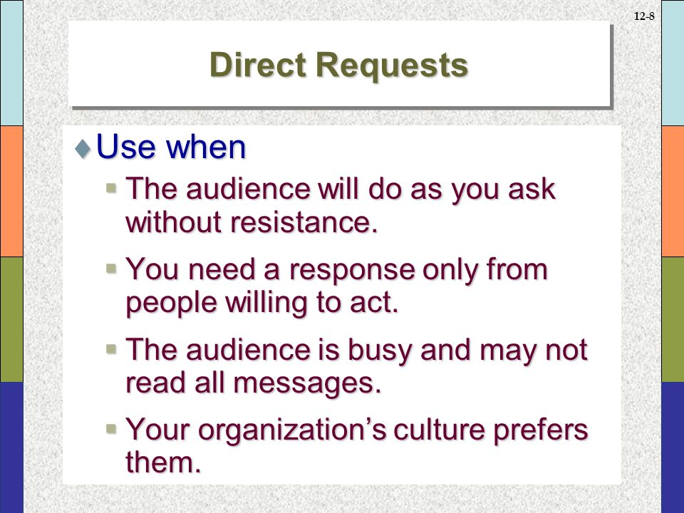 12-8 Direct Requests  Use when  The audience will do as you ask without resistance.