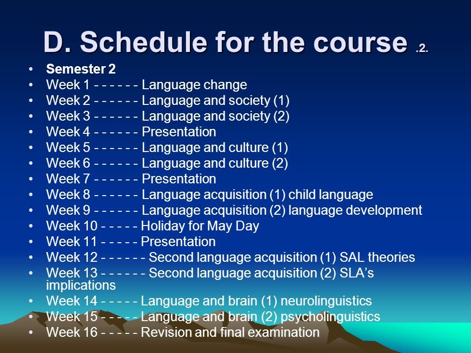 D. Schedule for the course.2.