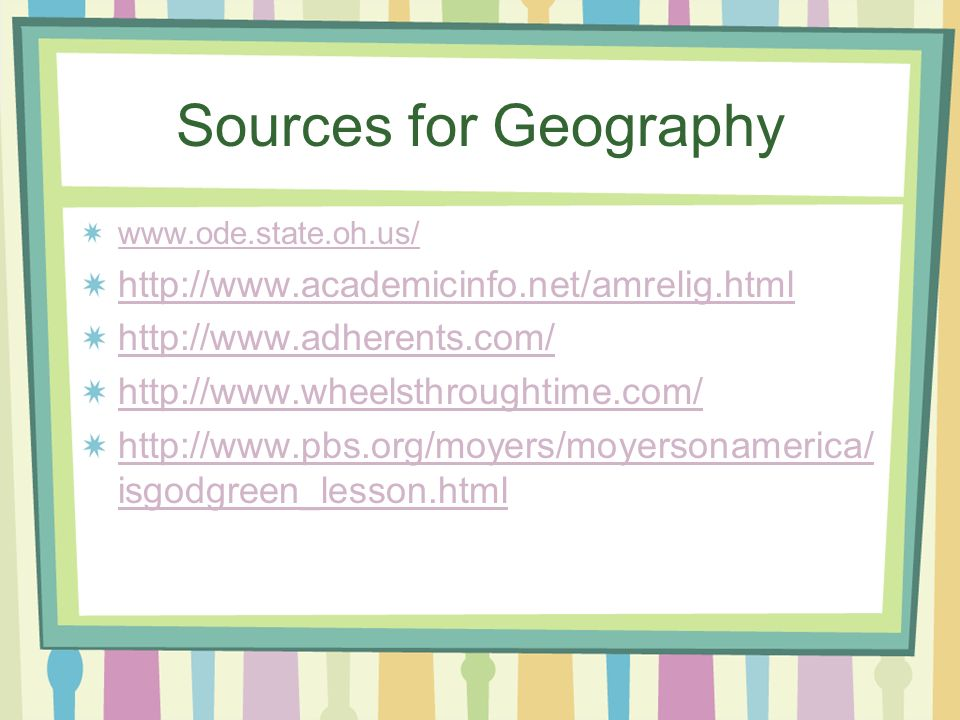 Sources for Geography isgodgreen_lesson.html