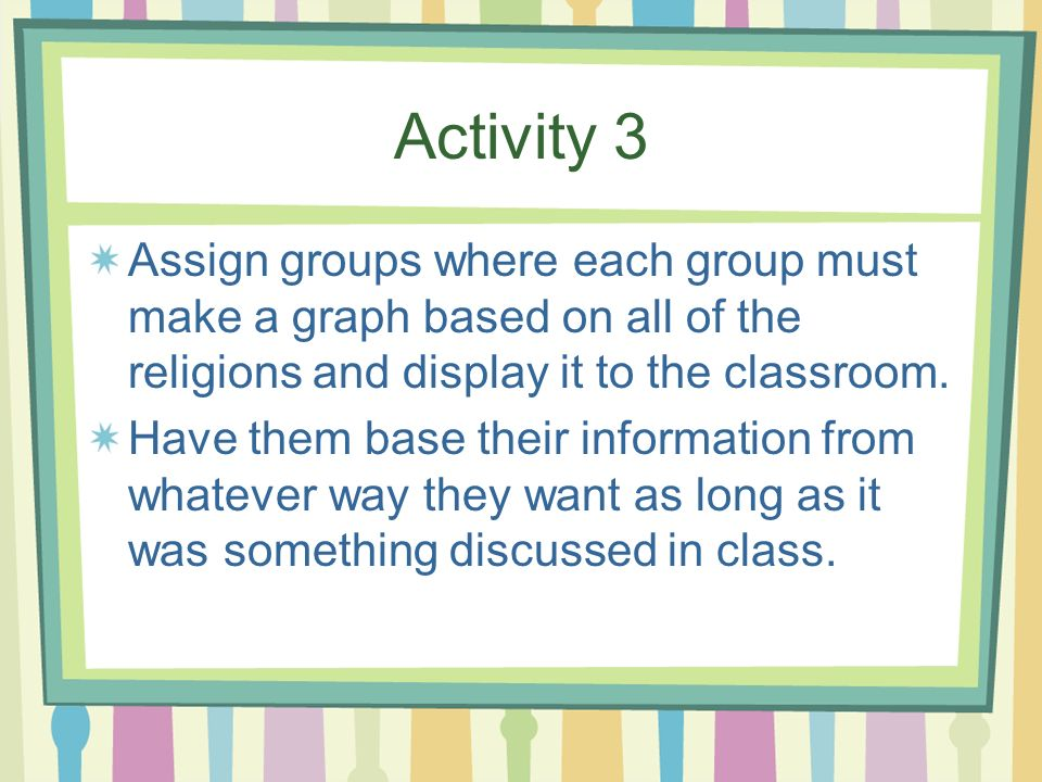 Activity 3 Assign groups where each group must make a graph based on all of the religions and display it to the classroom.