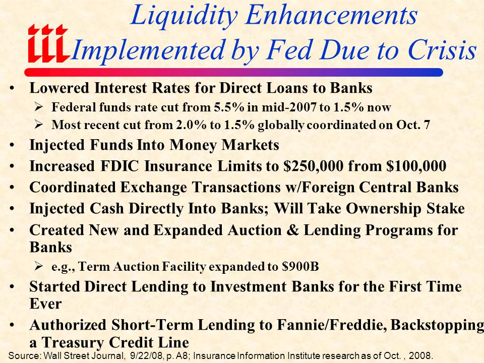 Federal Government Financial Services Rescue Package Source: Insurance Info.