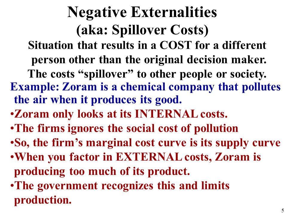 Situation that results in a COST for a different person other than the original decision maker.