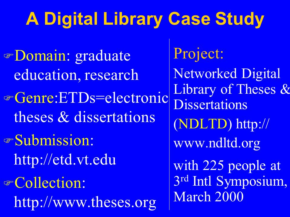 electronic theses and dissertations digital library