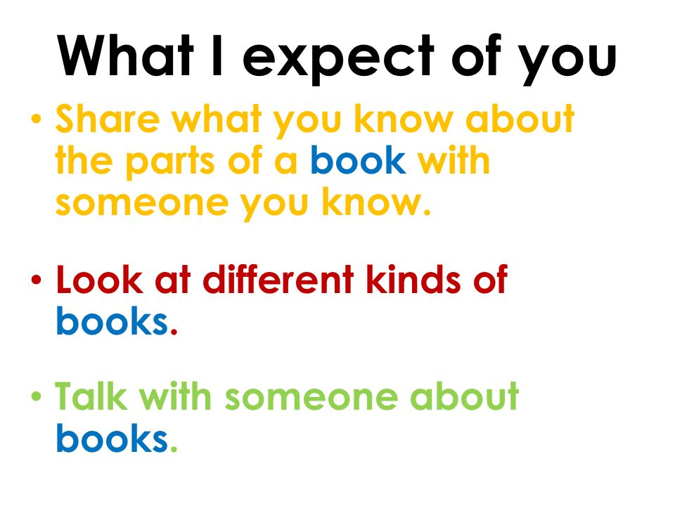 What I expect of you Share what you know about the parts of a book with someone you know.