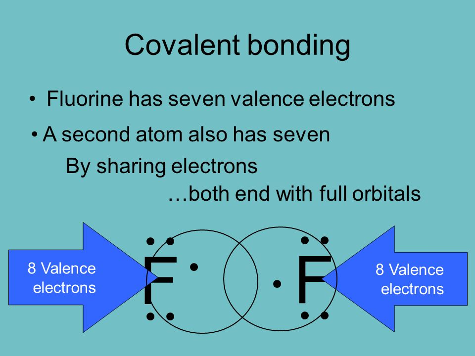Covalent bonding Fluorine has seven valence electrons F A second atom also has seven F By sharing electrons …both end with full orbitals 8 Valence electrons 8 Valence electrons