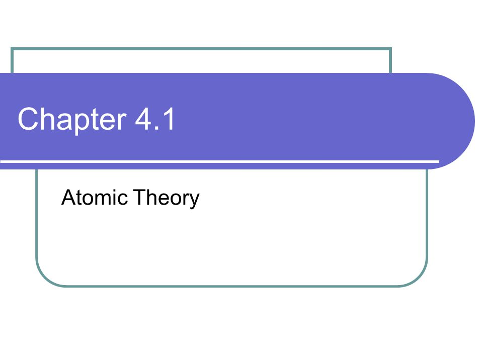 Chapter 4.1 Atomic Theory