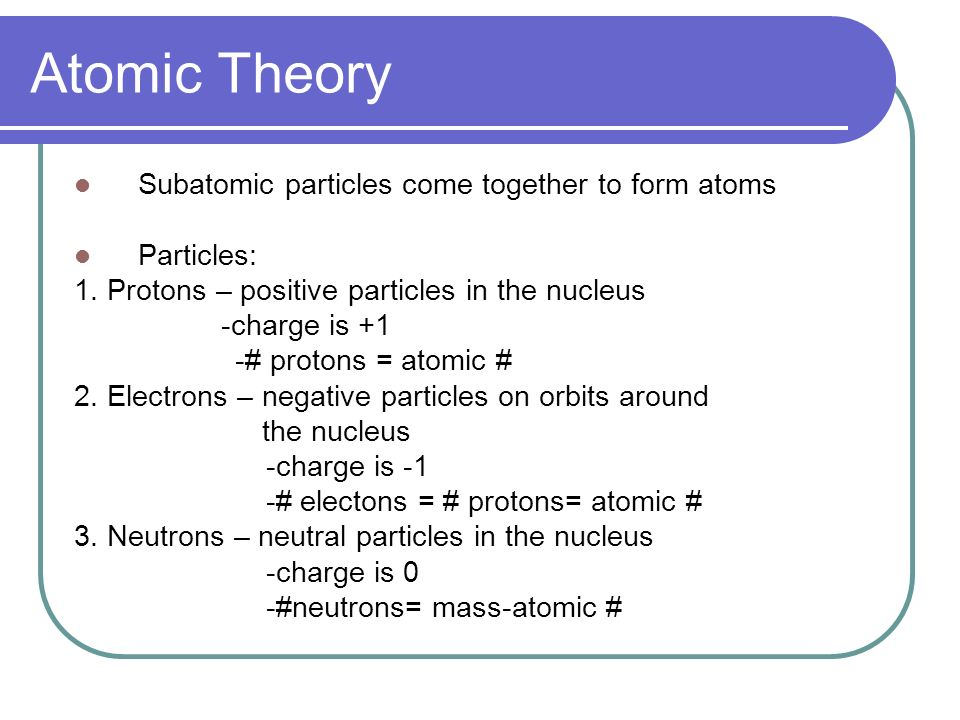 Atomic Theory Subatomic particles come together to form atoms Particles: 1.