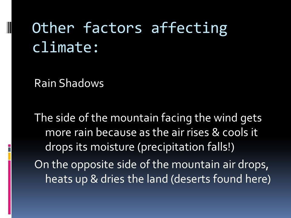 Other factors affecting climate: Rain Shadows The side of the mountain facing the wind gets more rain because as the air rises & cools it drops its moisture (precipitation falls!) On the opposite side of the mountain air drops, heats up & dries the land (deserts found here)