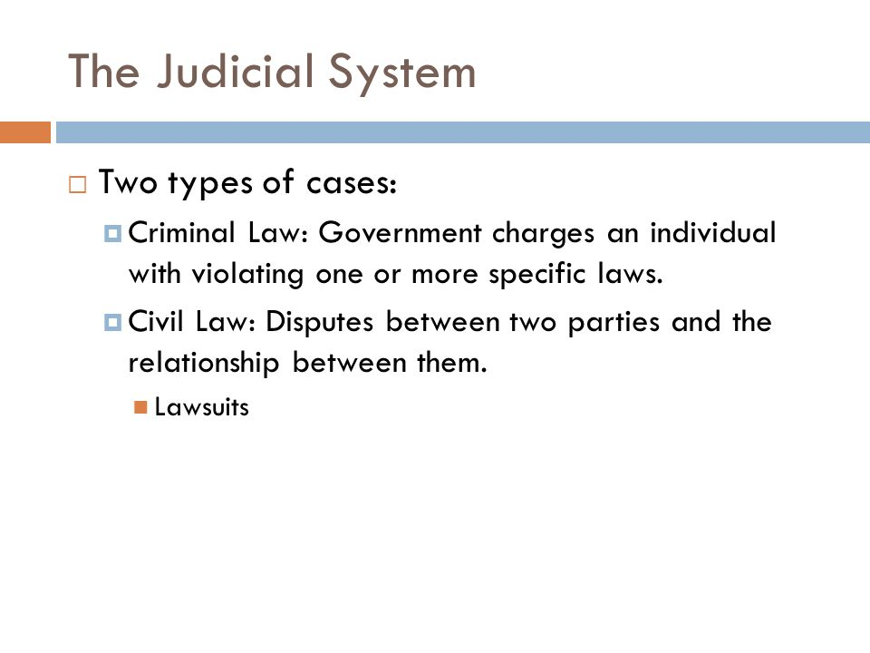 The Judicial System  Two types of cases:  Criminal Law: Government charges an individual with violating one or more specific laws.