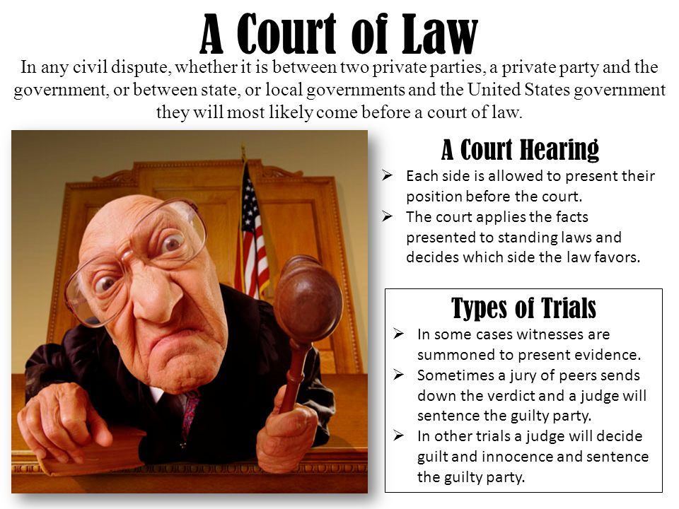 A Court of Law In any civil dispute, whether it is between two private parties, a private party and the government, or between state, or local governments and the United States government they will most likely come before a court of law.