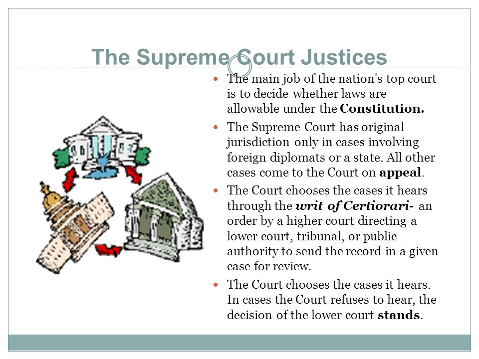 The Supreme Court Justices The main job of the nation s top court is to decide whether laws are allowable under the Constitution.