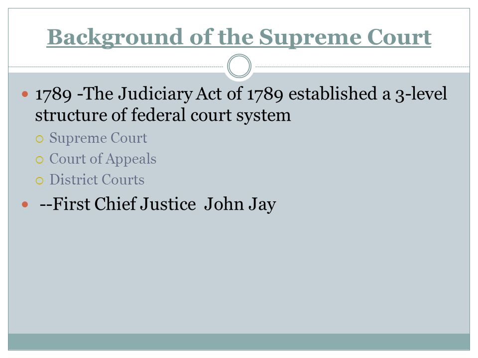 Background of the Supreme Court The Judiciary Act of 1789 established a 3-level structure of federal court system  Supreme Court  Court of Appeals  District Courts --First Chief Justice John Jay