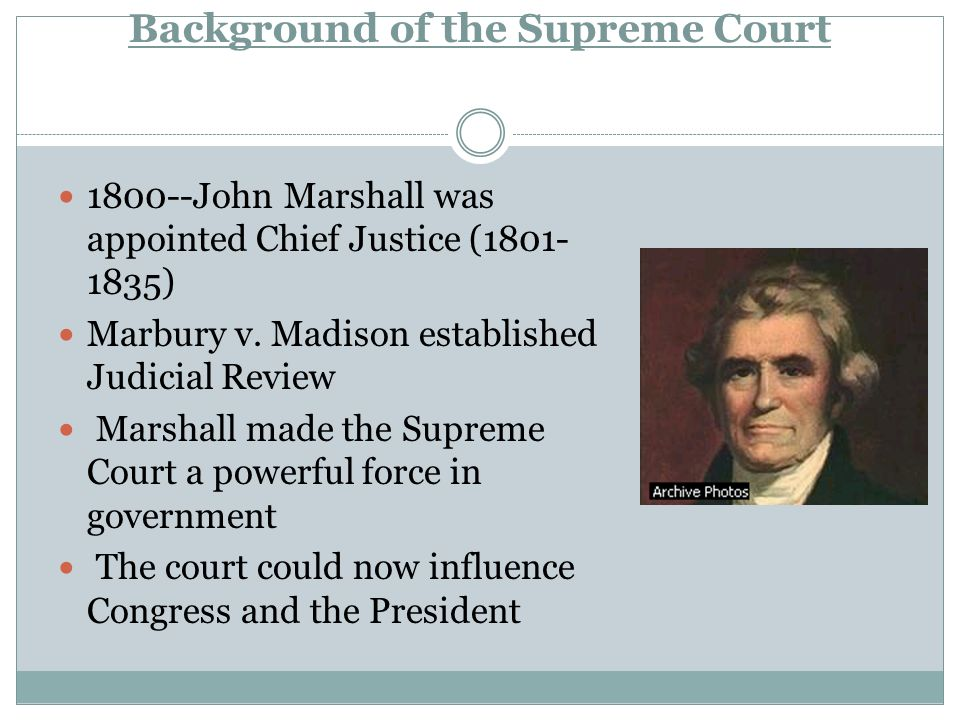 Background of the Supreme Court John Marshall was appointed Chief Justice ( ) Marbury v.