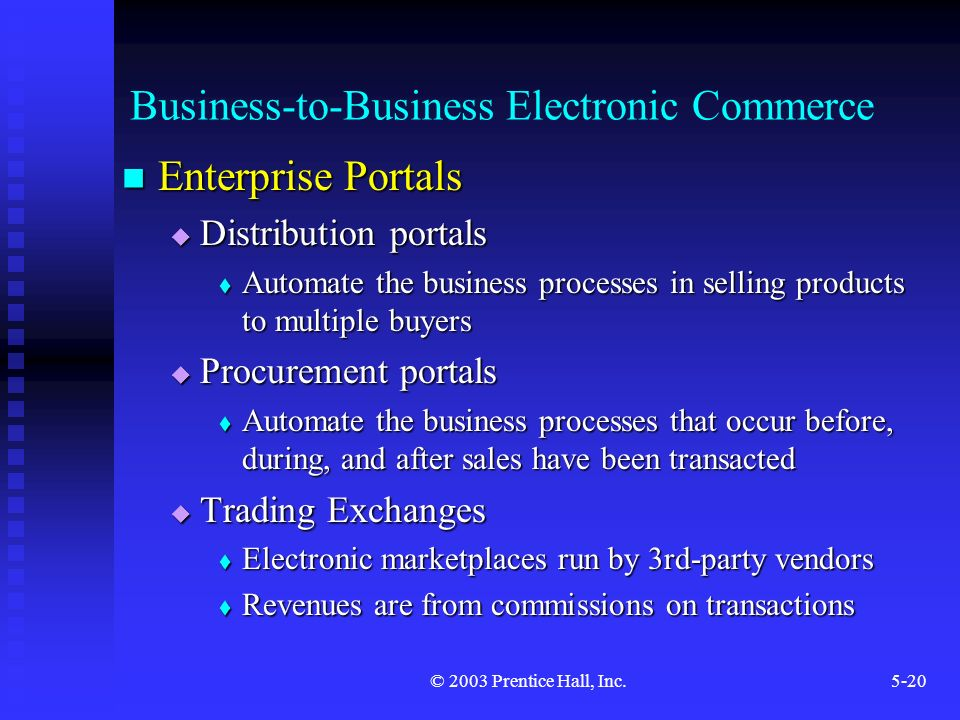 © 2003 Prentice Hall, Inc.5-20 Business-to-Business Electronic Commerce Enterprise Portals Enterprise Portals  Distribution portals  Automate the business processes in selling products to multiple buyers  Procurement portals  Automate the business processes that occur before, during, and after sales have been transacted  Trading Exchanges  Electronic marketplaces run by 3rd-party vendors  Revenues are from commissions on transactions