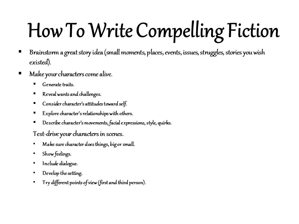 How to write fiction story