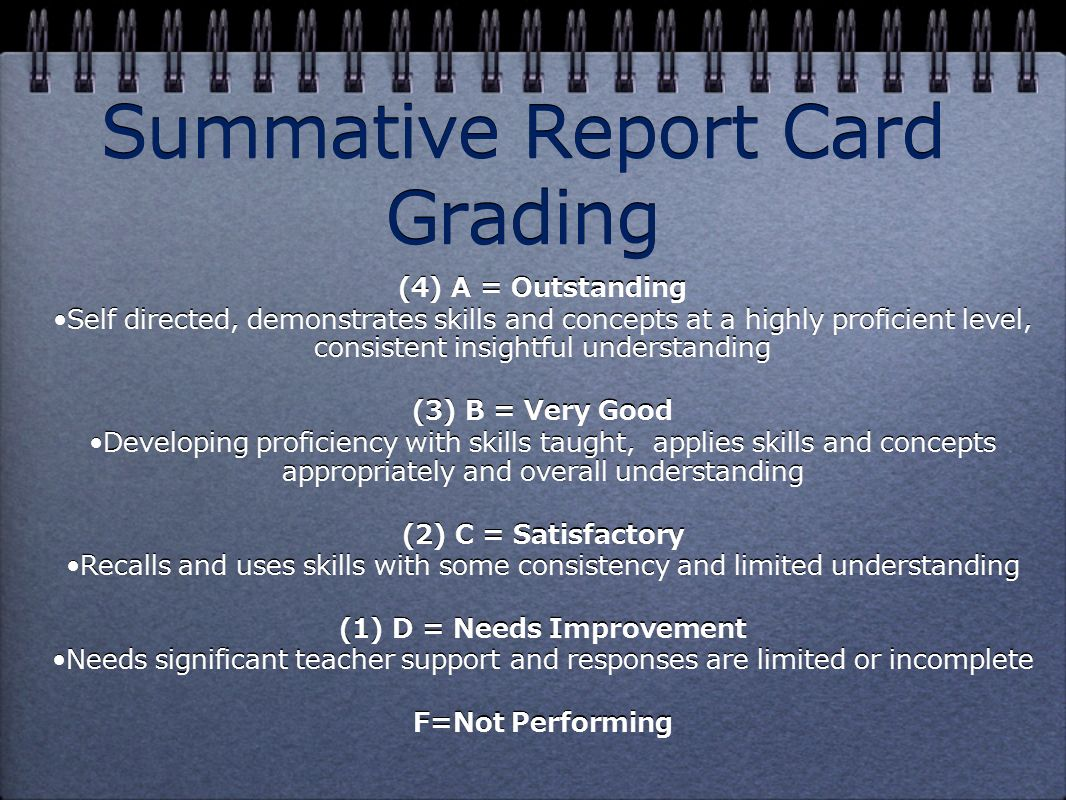 Summative Report Card Grading (4) A = Outstanding Self directed, demonstrates skills and concepts at a highly proficient level, consistent insightful understanding (3) B = Very Good Developing proficiency with skills taught, applies skills and concepts appropriately and overall understanding (2) C = Satisfactory Recalls and uses skills with some consistency and limited understanding (1) D = Needs Improvement Needs significant teacher support and responses are limited or incomplete F=Not Performing (4) A = Outstanding Self directed, demonstrates skills and concepts at a highly proficient level, consistent insightful understanding (3) B = Very Good Developing proficiency with skills taught, applies skills and concepts appropriately and overall understanding (2) C = Satisfactory Recalls and uses skills with some consistency and limited understanding (1) D = Needs Improvement Needs significant teacher support and responses are limited or incomplete F=Not Performing