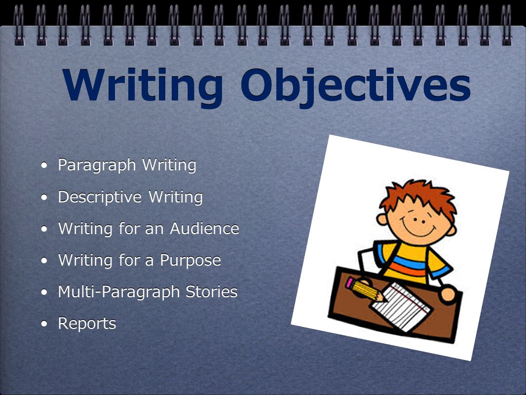 Writing Objectives Paragraph Writing Descriptive Writing Writing for an Audience Writing for a Purpose Multi-Paragraph Stories Reports Paragraph Writing Descriptive Writing Writing for an Audience Writing for a Purpose Multi-Paragraph Stories Reports