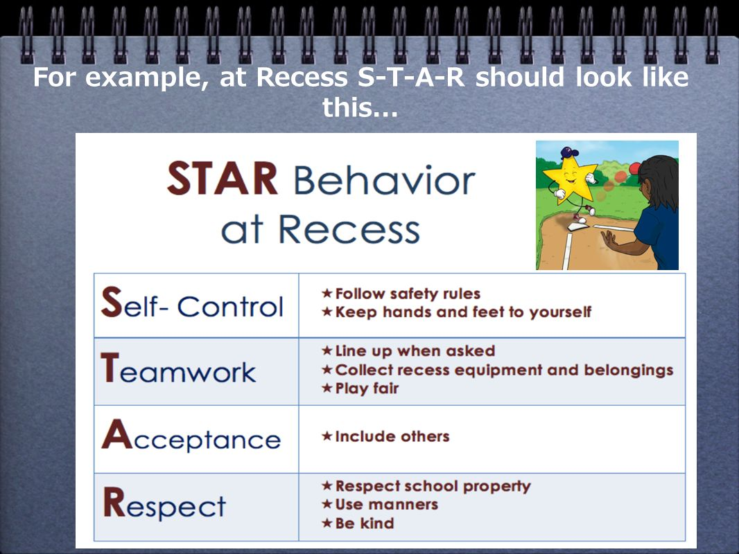 For example, at Recess S-T-A-R should look like this...