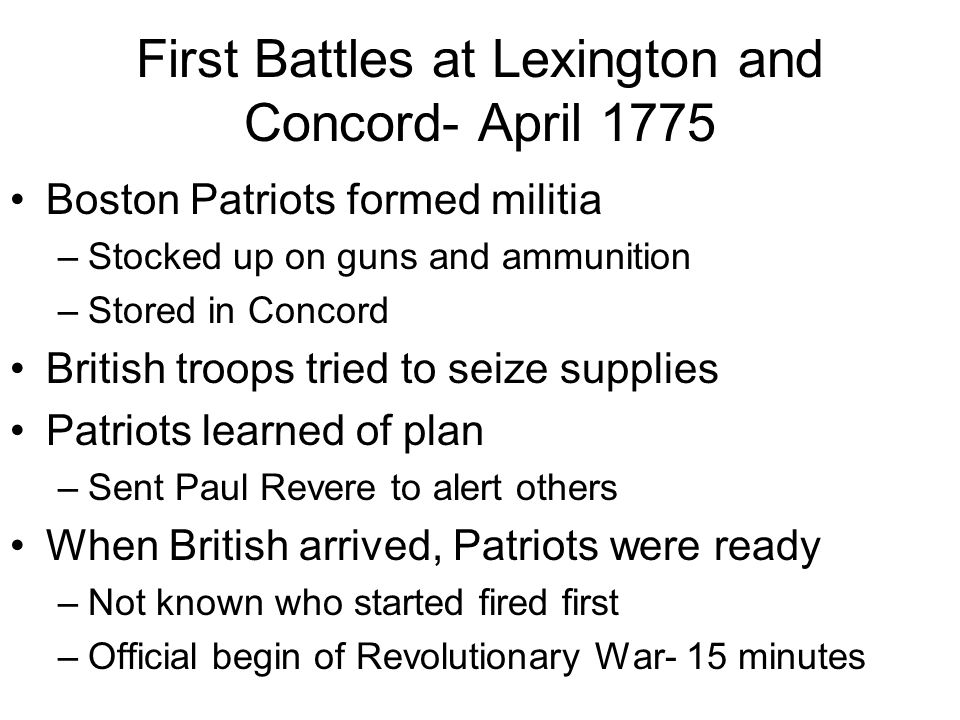 today s schedule warm up ppt the battles for independence  3 first battles at lexington and concord