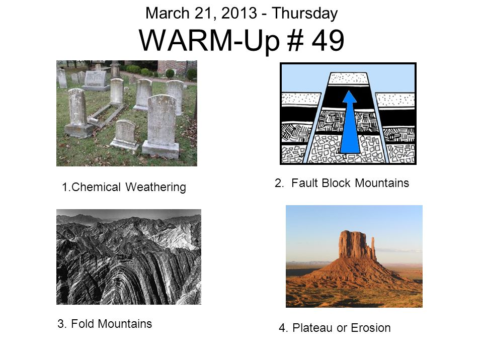 WARM-Up # 48 THINK ROCKS & WEATHERING Prediction: What is ice ...