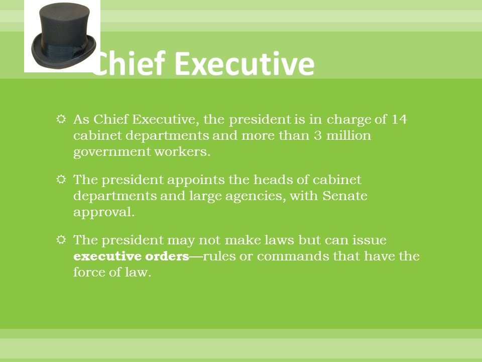 The Executive Branch Duty – Carry out the laws of the Nation ...