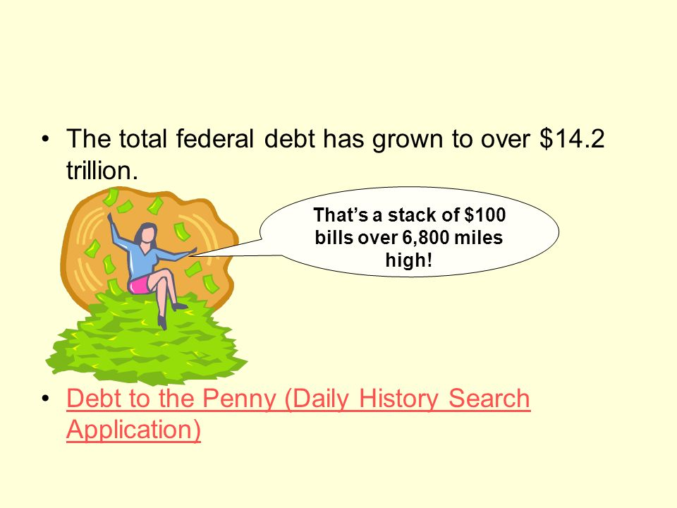 The total federal debt has grown to over $14.2 trillion.