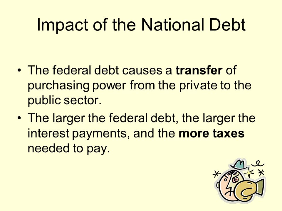Impact of the National Debt The federal debt causes a transfer of purchasing power from the private to the public sector.