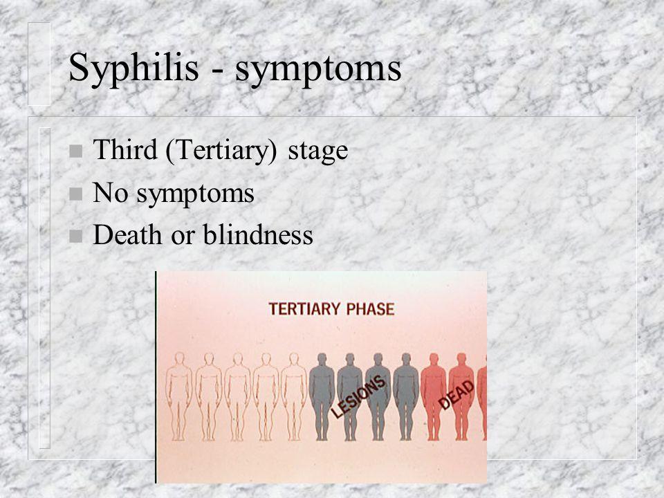Syphilis - symptoms n Third (Tertiary) stage n No symptoms n Death or blindness