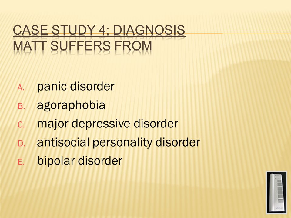 case study of someone with major depressive disorder Start studying major depression case study learn vocabulary, terms, and more with flashcards, games, and other study tools.